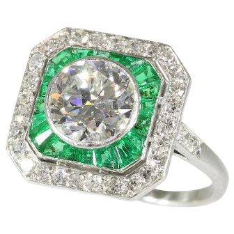 Art Deco Emerald and Diamond Engagement Ring c.1920