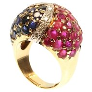 Large Retro Precious Stones and gold Cocktail Ring France ca.1950