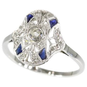 French Art Deco Diamond and Sapphire Ring ca.1920