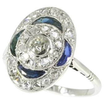Art Deco Sapphire and Diamond Engagement Ring c.1920