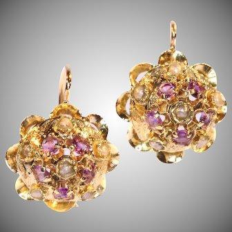 Victorian Amethyst and Pearl Drop Earrings c.1880