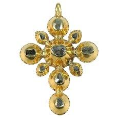 Yellow Gold 18th Century Georgian Cross with Diamonds, 1790s               (ref. 09329-4334)