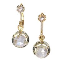 Art Deco Diamond and Gold Dangle Earrings ca.1920