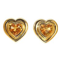 Paloma Picasso for Tiffany & Co. Citrine 18 Karat Gold Heart Clip on Earrings, 1990s               (ref. 17342-0283)