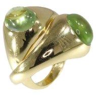 Pomellato Gold & Green Quartz Double Rings ca.1980