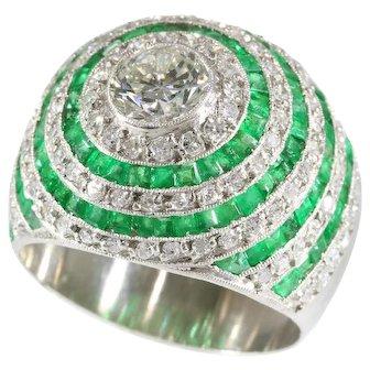Vintage Emerald and Diamond Platinum Ring ca.1950