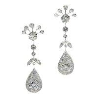 Mid-20th Century 5.54 Carat Diamond Platinum Pear Drop Dangle Earrings, 1950s               (ref. 18033-0195)