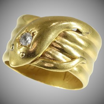 Antique Gold and Diamond Coiled Snake Ring ca.1893