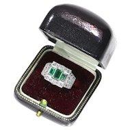 Pair Rings Emerald and Diamond Platinum Ring ca.1950