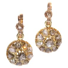 Victorian Diamond and Rose Gold Dangle Earrings ca.1880