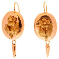 Victorian Floral Rose Gold Dangle Earrings ca.1880
