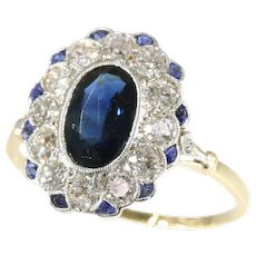 Most Elegant Art Deco Diamond and Sapphire Lady Di Type of Engagement Ring, 1930s               (ref. 18045-0003)