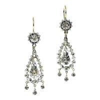 Victorian Long Dangle Rose Cut Diamond Earrings, 1850s               (ref. 18083-0234)