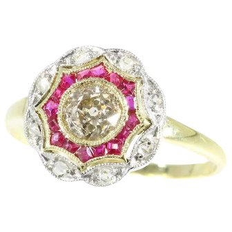 Beautiful Art Deco diamond and ruby gold ring