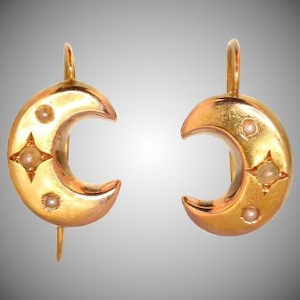 Victorian crescent moon pearl and gold drop earrings