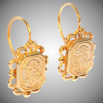 French antique gold drop earrings
