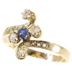 Antique Victorian gold diamond and sapphire ring