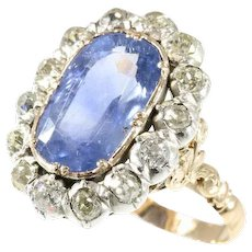 Antique certified untreated sapphire and diamond engagement ring 18k rose gold