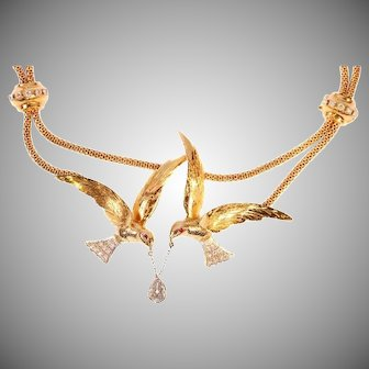 French Retro flying swallow necklace pear shaped diamond