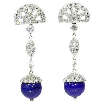 Diamond and lapis lazuli spheres dangle earrings platinum