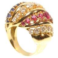 Vintage gold and gemstones cocktail ring c.1950