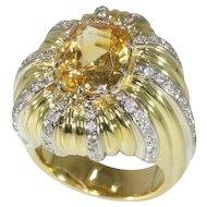 Natural Yellow Sapphire and Diamond Ring ca.1960