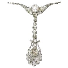 Belle Époque Diamond Pendant Necklace by Dutch Supplier to the Court, 1920s               (ref. 16330-0133)