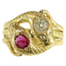 Victorian Double Snakes Ring Ruby & Diamond c.1890