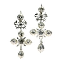 Rare Flemish Cross Earrings Gold Backed Silver Pendants with Rose Cut Diamonds, 1800s               (ref. 13063-0049)
