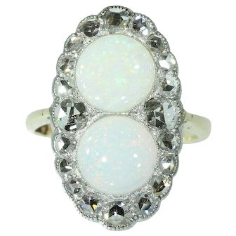 Antique opal ring diamond 14k yellow gold 19th century