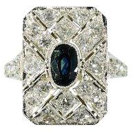 Large Art Deco Diamond and Sapphire Ring c.1920