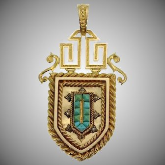French Antique Turquoise and Gold Locket Pendant c.1870