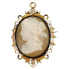 Fine French Antique Cameo and Enamel 18K Gold Brooch Pendant, 1870s               (ref. 15209-0125)