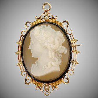 French Antique Cameo and Enamel Gold Brooch Pendant c.1870