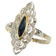 Belle Epoque Art Deco diamond sapphire engagement ring