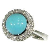 Vintage Cabochon turquoise diamond ring white gold c.1930