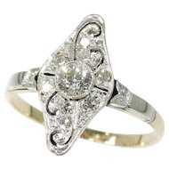 Art Deco Diamond Ring Yellow Gold c.1920