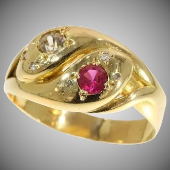Antique Two Snakes Ring Ruby Diamond 18K Red Gold c.1890