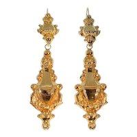 Victorian 18 Karat Red Gold Dangle Earrings, 1840s               (ref. 09287-4251)