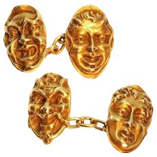 French Antique Gold Mask Cuff Links c.1880