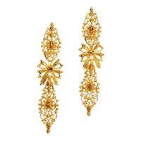 Antique Rococo 18th Century Diamond and 19.2 Karat Yellow Gold Dangle Earrings, 1740s               (ref. 16107-0044)