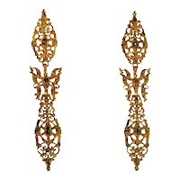 300 Yrs Old Antique Long Pendent Earrings with Rose Cut Diamonds High Carat Gold               (ref. 16107-0027)