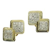 Signed Boucheron Paris Estate 3.60 Carat Diamond Earclips Gold and Platinum, 1950s               (ref. 16110-0082)