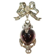 Victorian Antique Garnet and Diamond Snake Pendant Brooch, 1830s               (ref.16196-0110)