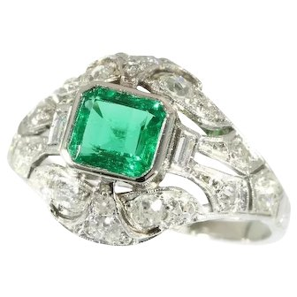 Art Deco Colombian Emerald and Diamond Ring c.1920