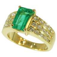 Kutchinsky Emerald and Diamond Gold Ring c.1986