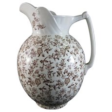 Large Victorian Staffordshire Brown Transferware Wash Pitcher - Late 1800s