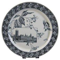 Aesthetic Movement Black Transferware Plate - 1882