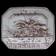Large Victorian Brown Transferware Platter - 1883