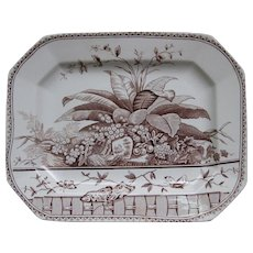 Large Victorian Brown Transferware Platter - 1883